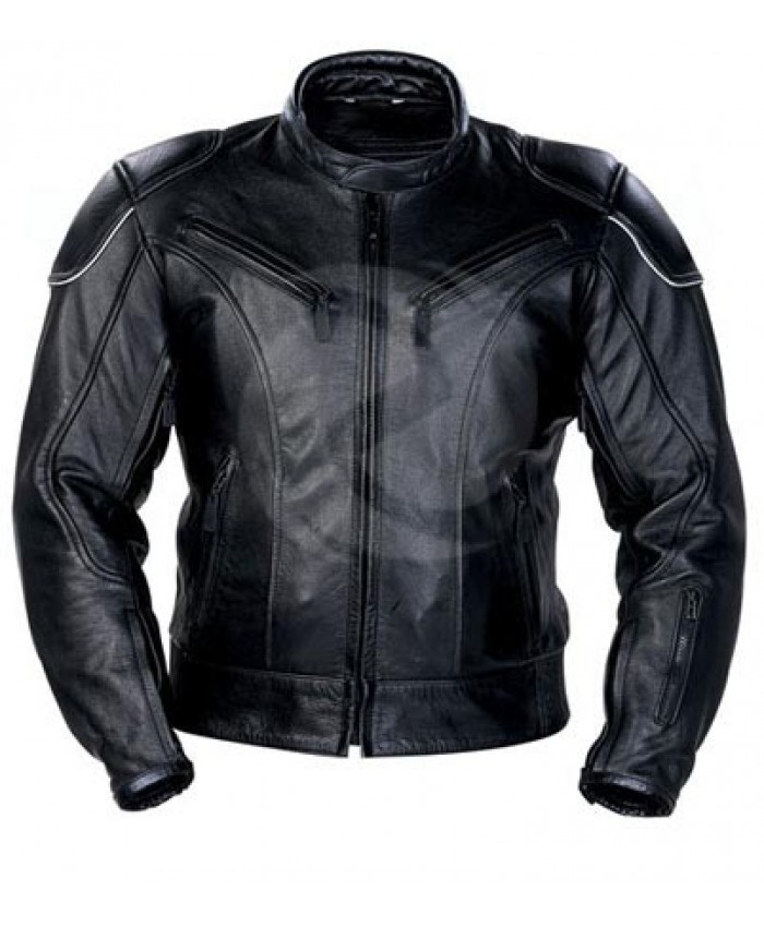 Men Black Racing Leather Motorbike Jacket